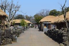 Village folklorique de Seongeup, île de Jeju, Corée Photos stock