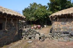 Village folklorique de Seongeup, île de Jeju, Corée Photo stock