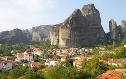 The village at the foot of Meteora in Greece Royalty Free Stock Photography
