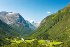 Village at the foot of mountain in Norway Royalty Free Stock Images