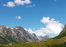 Village at the foot of mountain in Norway Royalty Free Stock Photography