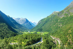 Village at the foot of mountain in Norway Royalty Free Stock Photos
