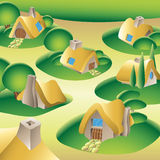 Village in a forest Stock Photos