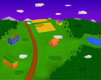 Village in Forest. Beautiful village in the forest. 3D Cartoon illustration Stock Photo