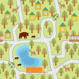 Village in the forest seamless pattern Royalty Free Stock Photography