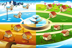 Village in four season Royalty Free Stock Image