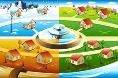 Village in four season vector illustration