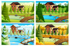 Village in Four Seasons. A vector illustration of village in four seasons Royalty Free Stock Photography