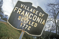 Village of Franconia sign, NH, settled in 1792 Royalty Free Stock Photo