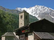 Village in front of Monte Rosa Royalty Free Stock Photos