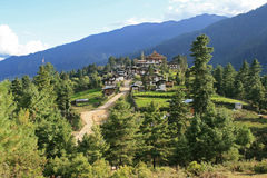 The village of Gangtey, Bhutan, was built at the top of a hill. Stock Photography