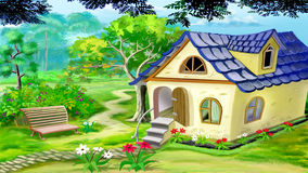 Village Garden House. Digital painting of the Village Garden House in a summer day. Rural landscape Stock Image