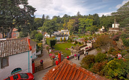 Village Gardens. Looking down on the gardens at Portmeirion, which are an attractive feature of this village in Gwynedd, Wales, UK Royalty Free Stock Photo