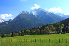 Village In The Germany Alps. Beautiful Landscape With Fields And Meadows in the alps.Bavarian.Germany Stock Images