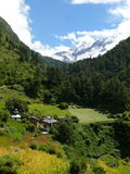 Village Gho and Churke Himal - Tsum Valley - Nepal Royalty Free Stock Image