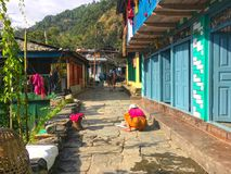 Village Ghorepani near Poon Hill stock photo