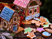 Village of gingerbread houses in preparing for Christmas. Royalty Free Stock Photo