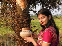 A village girl stood at the front of date tree, spring time stock photography
