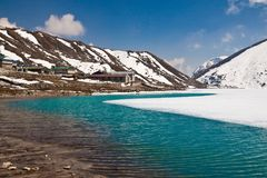 Lake Dudh Pokhari and village Gokyo. Trek to Everest base camp. Stock Image