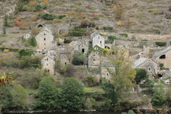 Village in Gorges du Tarn or Tarn canyon, France Royalty Free Stock Photos