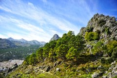 The village of Grazalema among mountains, White Villages of the province of Cádiz, Spain Royalty Free Stock Photos