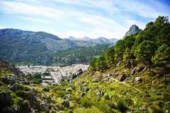 The village of Grazalema among mountains, White Villages of the province of Cádiz, Spain Stock Photo