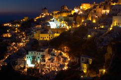 Village grec traditionnel, Oia, Santorini 4 Images stock