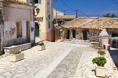 Corfu island village. Village in Greece - Krini village on Corfu island Royalty Free Stock Photography