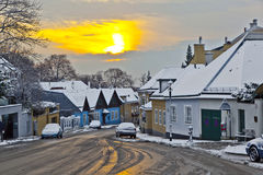 Village of Grinzing in early morning light in Wintertime Royalty Free Stock Image