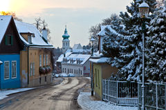 Village of Grinzing in early morning light in Wintertime Royalty Free Stock Images