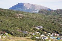 Village with Gros Morne mountain in Newfoundland Stock Photos