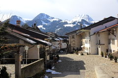 Village of Gruyères in Switzerland. Picturesque village in the Swiss Alps Stock Photography