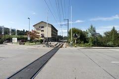 Village of Gruyères railstation Stock Photo