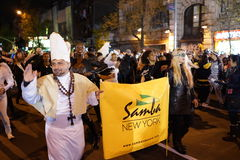 The 2015 Village Halloween Parade 2. New York's Village Halloween Parade is an annual holiday parade and street pageant presented on the night of every Halloween stock image