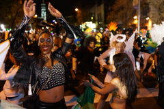 The 2015 Village Halloween Parade 3. New York's Village Halloween Parade is an annual holiday parade and street pageant presented on the night of every Halloween stock photography