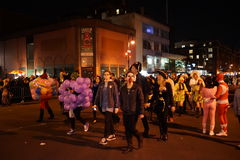 The 2015 Village Halloween Parade Part 4 95. New York's Village Halloween Parade is an annual holiday parade and street pageant presented on the night of every Royalty Free Stock Photo