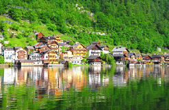 Village in Hallstatt, Austria. Cute Villages along the lake in Hallstatt Austria Stock Photography