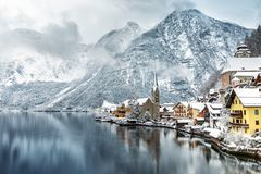 The village of Hallstatt in the Austrian Alps. In winter time covered with snow Stock Photos