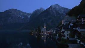 Village of Hallstatt, Lake Hallstatt, Austria, Europe stock video footage