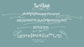 The Village Handwritten Font. Amsterdam Handwritten script font. Brush font. Uppercase, lowercase, numbers, punctuation and a lot of ligatures Stock Photography