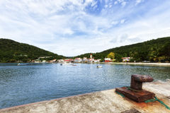 Village and harbor of Deshaies, Guadeloupe Royalty Free Stock Photo