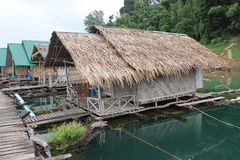 The village hay on the water at Cheowlan ,thailand Royalty Free Stock Photos