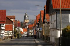 Village Herleshausen with the castle church royalty free stock photos