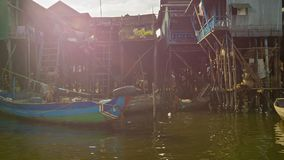 Village on high wooden poles on Tonle Sap lake. Tonle Sap is the largest freshwater lake in Sou stock video