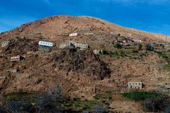 Village on hill in High Atlas Stock Image