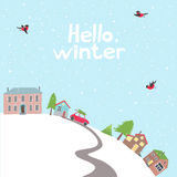 Village on the hill in winter time. Royalty Free Stock Photos