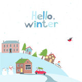Village on the hill in winter time. Royalty Free Stock Images
