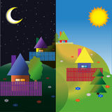 Village on the hills. Night and Day. Summer. Vector illustration Stock Images