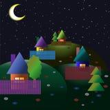 Village on the hills. Summer night. Moon. Vector illustration Royalty Free Stock Photography