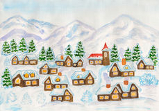 Village in hills in winter, painting Royalty Free Stock Photo